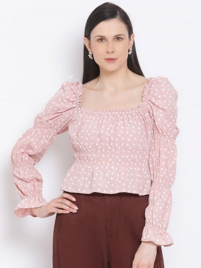 Pink and white printed Empire top
