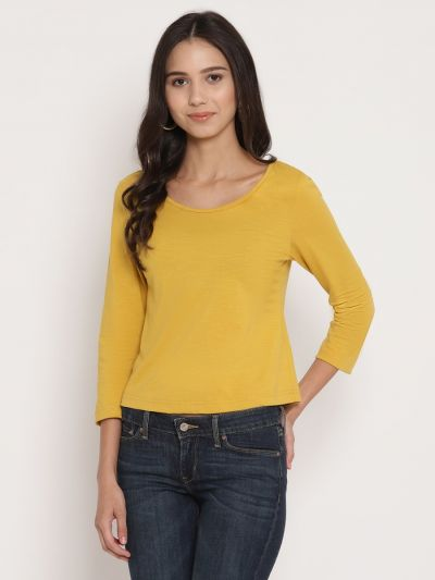 Yellow fitted basic top